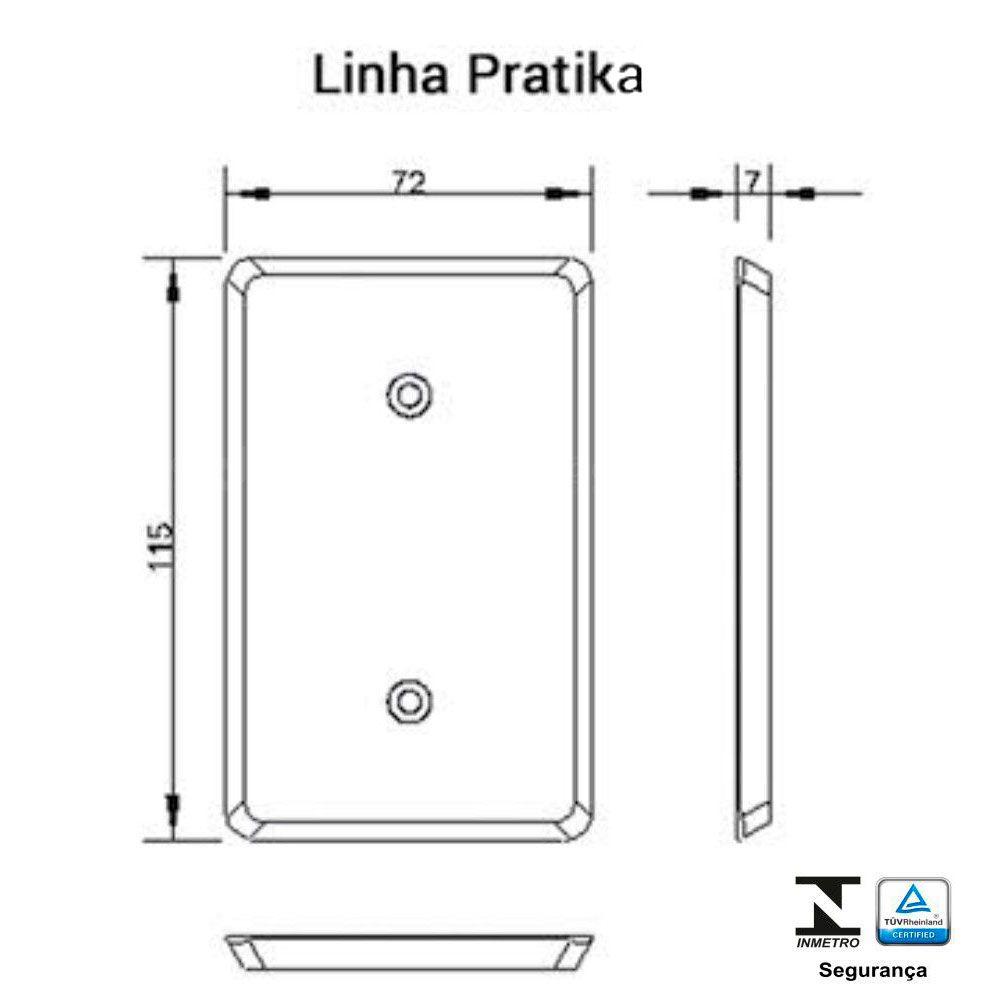Interruptor 1 Tecla Simples +1 Paralelo 6A Pratika - Ilumi