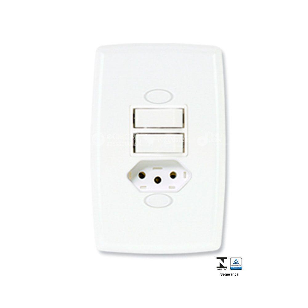 Interruptor 1 tecla simples+paralelo+tomada fixa 10A Safira - Ilumi