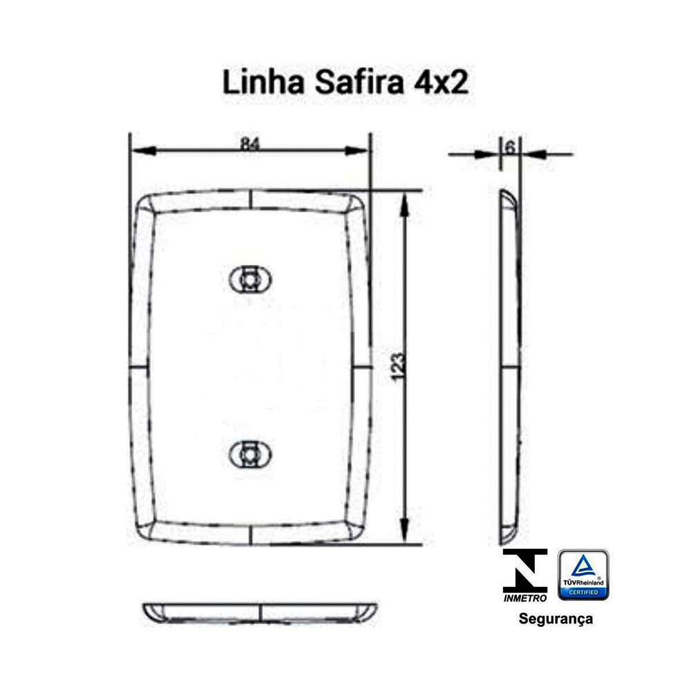 Interruptor 2 teclas + 1Paralela 6A Safira - Ilumi