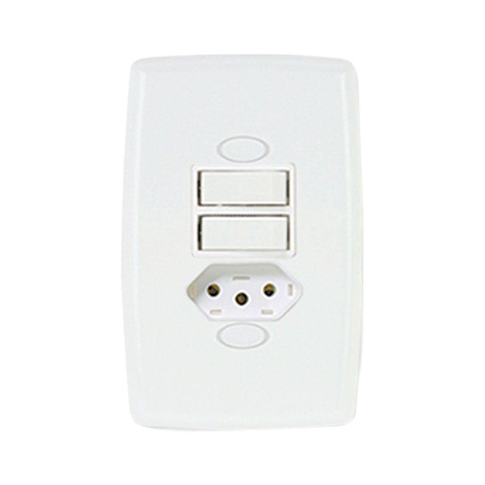 Interruptor 2 Teclas Paralelo + Tomada 2P+T 10A Safira Ilumi