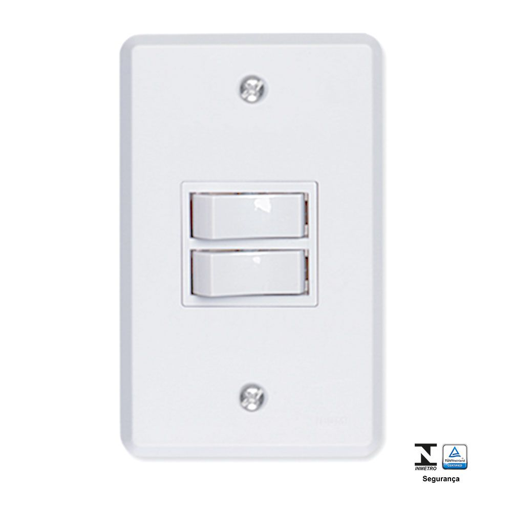 Interruptor 2 Teclas Simples 6A Pratika - Ilumi