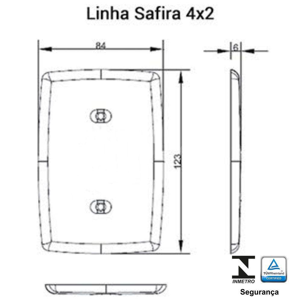 Interruptor 3 Teclas Simples 6A Safira - Ilumi