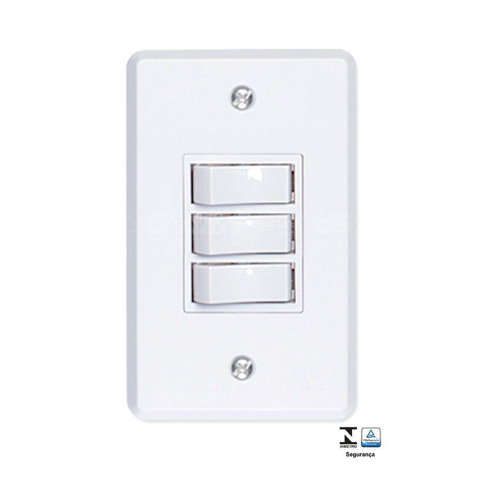 Interruptor 3 Teclas Simples 6A Pratika - Ilumi