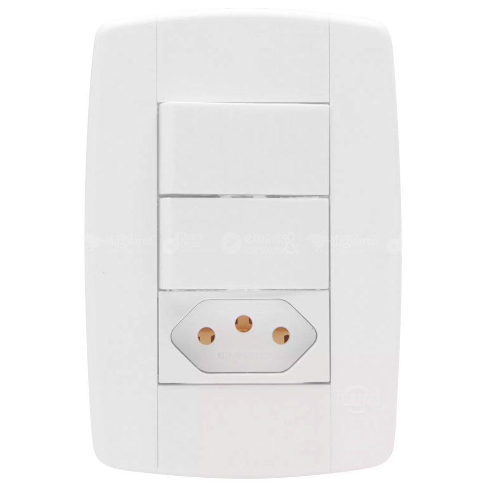 Interruptor Duplo Simples com Tomada 10A Modular Ilumi Lev