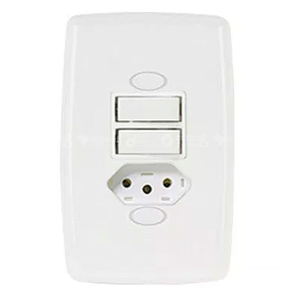 Interruptor 2 Teclas Simples + Tomada 2P+T 20A Safira Ilumi