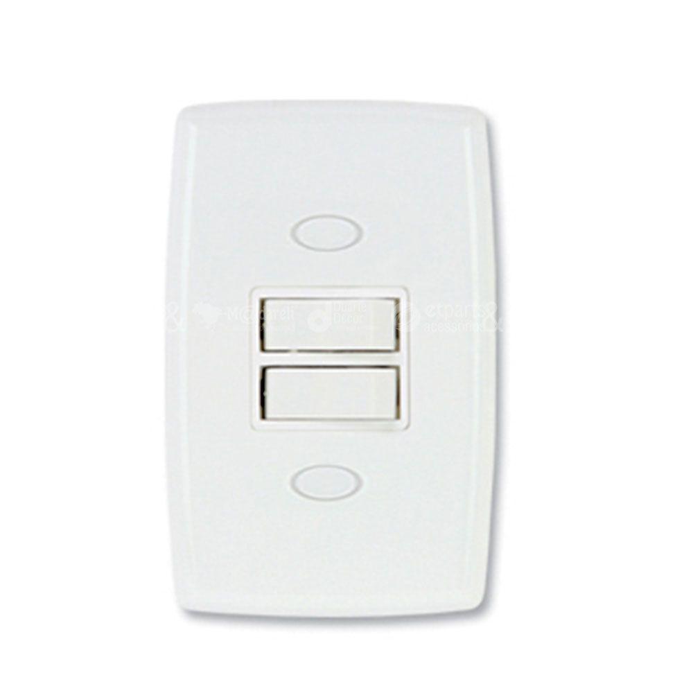 Interruptor Duplo Simples 6A Safira - Ilumi