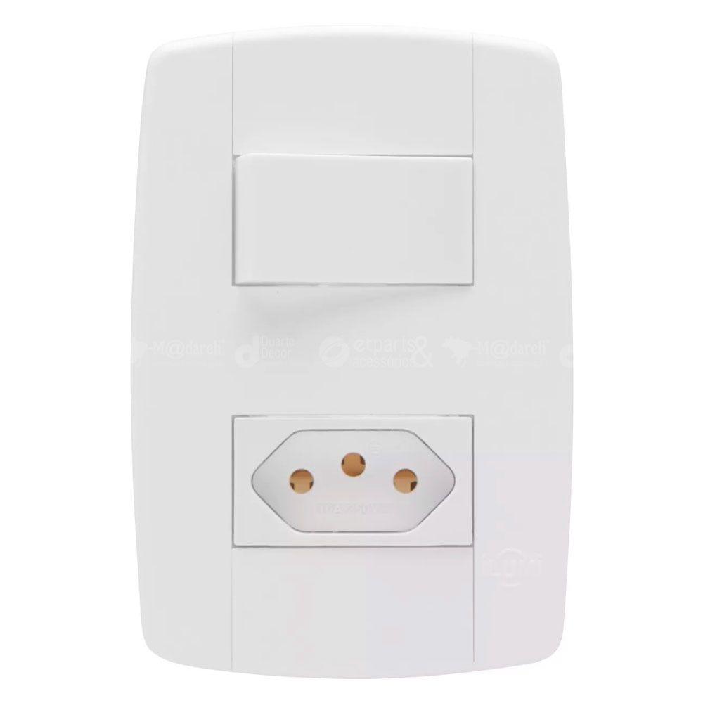 Interruptor Simples com Tomada 10A Modular Ilumi Lev