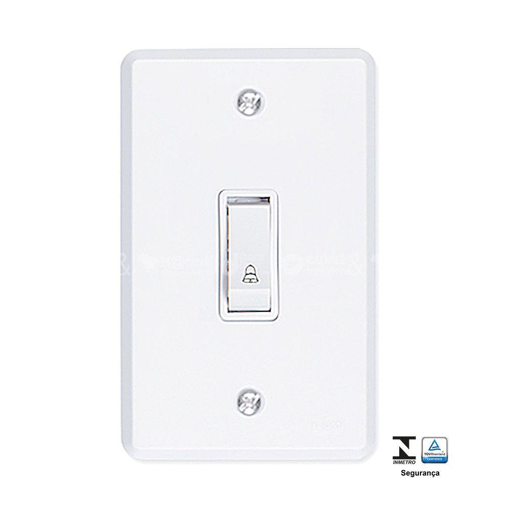 Interruptor para Campainha Pulsador 6A com Placa 4x2 Pratika - Ilumi