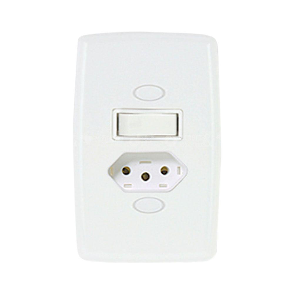 Interruptor Paralelo com Tomada 2P+T 6/10A Safira - Ilumi