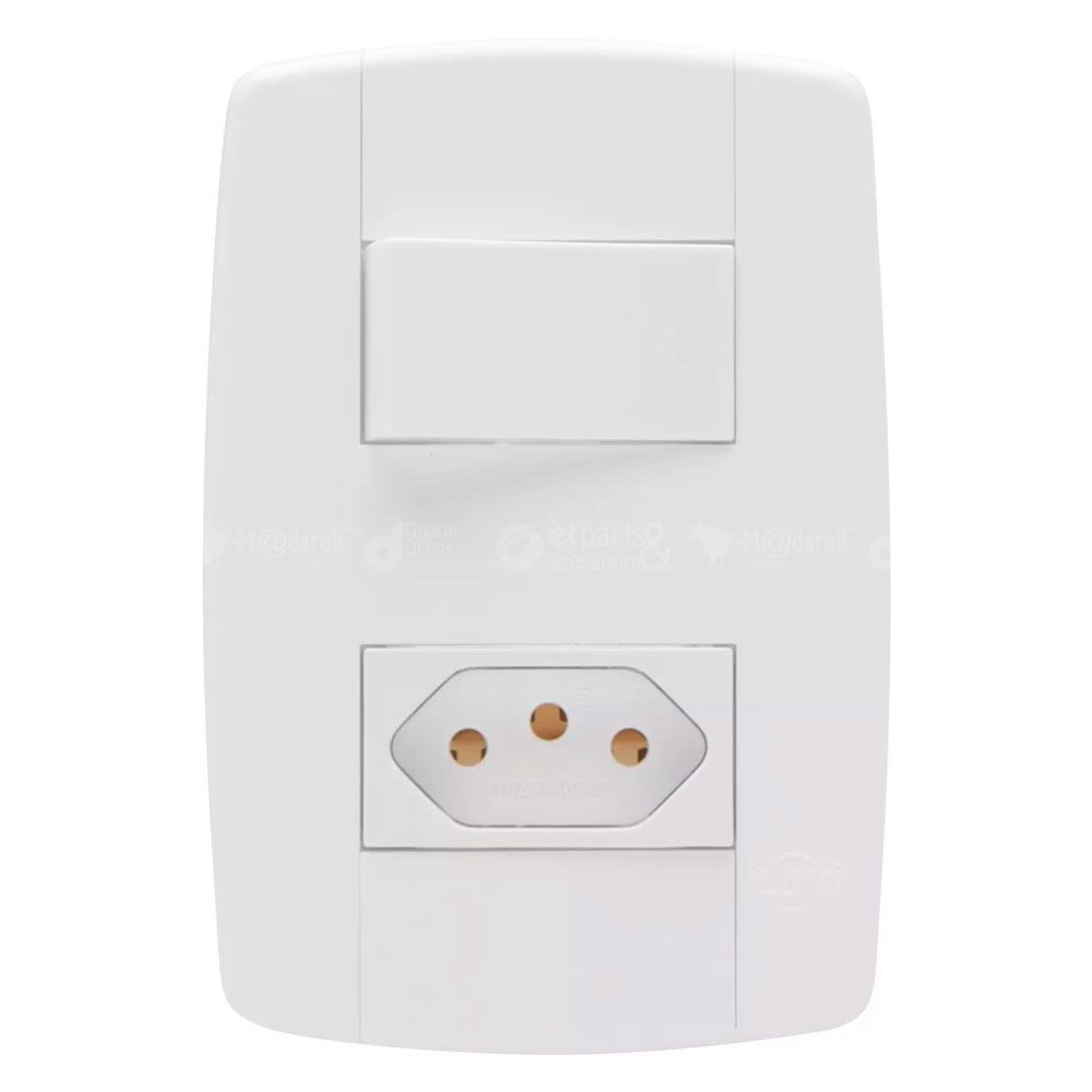 Interruptor Simples com Tomada 20A Modular Ilumi Lev
