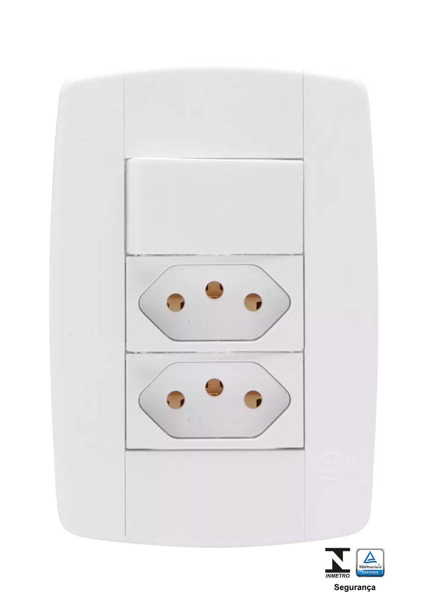 Interruptor Simples + duas Tomadas - 10A 250V Ilumi Lev
