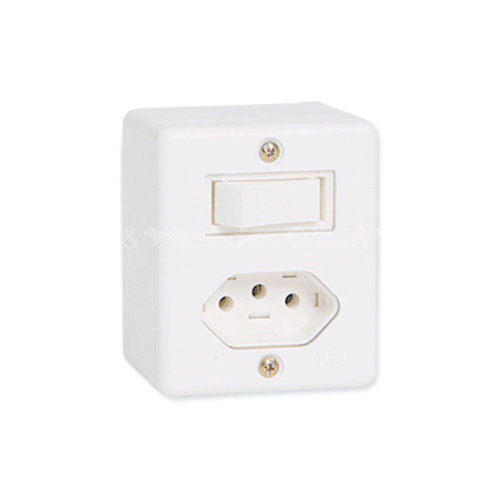 Interruptor Simples de Sobrepor com tomada 10A - Ilumi