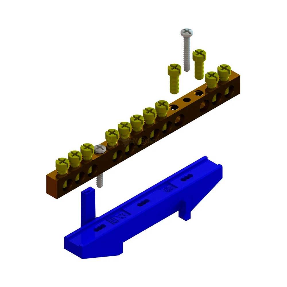 Kit Barramento Neutro 12 Furos com Suporte Azul - TAF