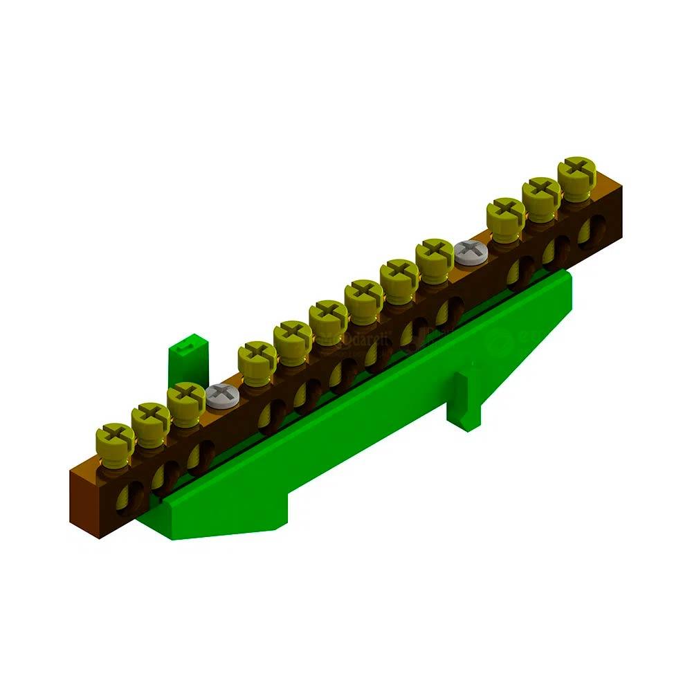 Kit Barramento Terra 12 Furos com Suporte Verde - TAF