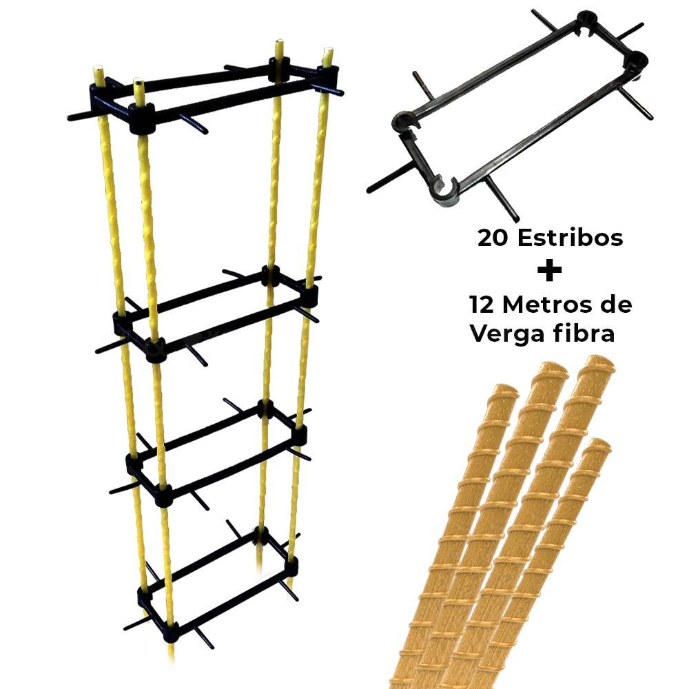 "Kit Coluna Armada Vergalhão Fibra 3/8"" 10mm 7x17 c/ Espaçador 3 metros"