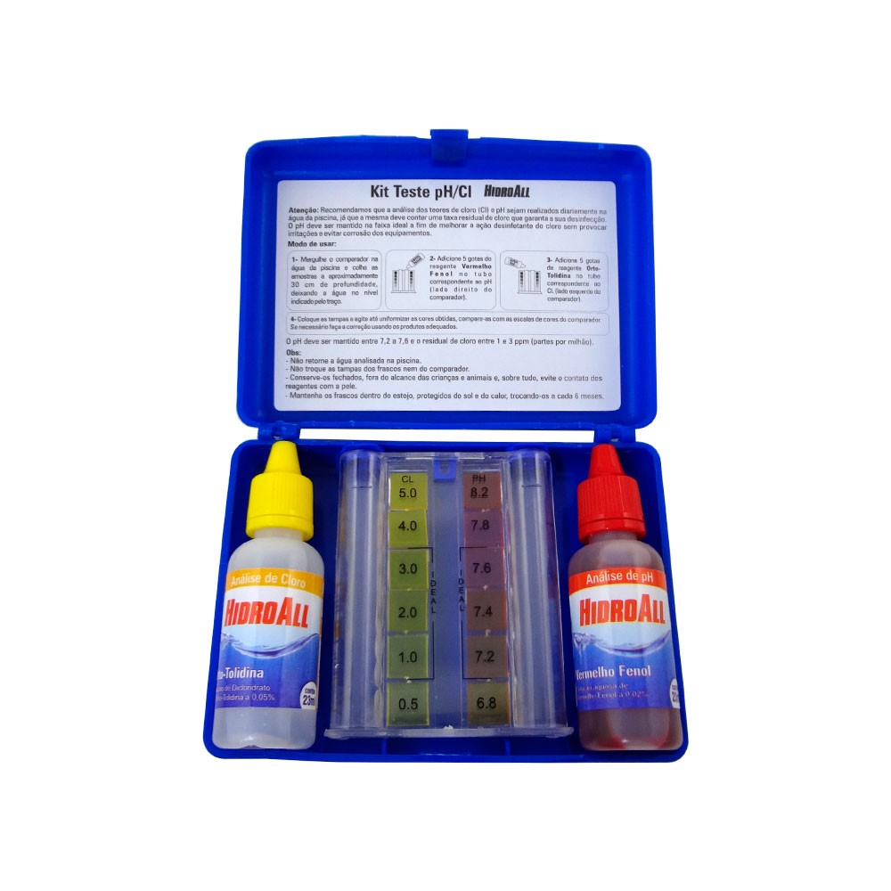 Kit Para Análise do Ph e Cloro da Água de Piscinas