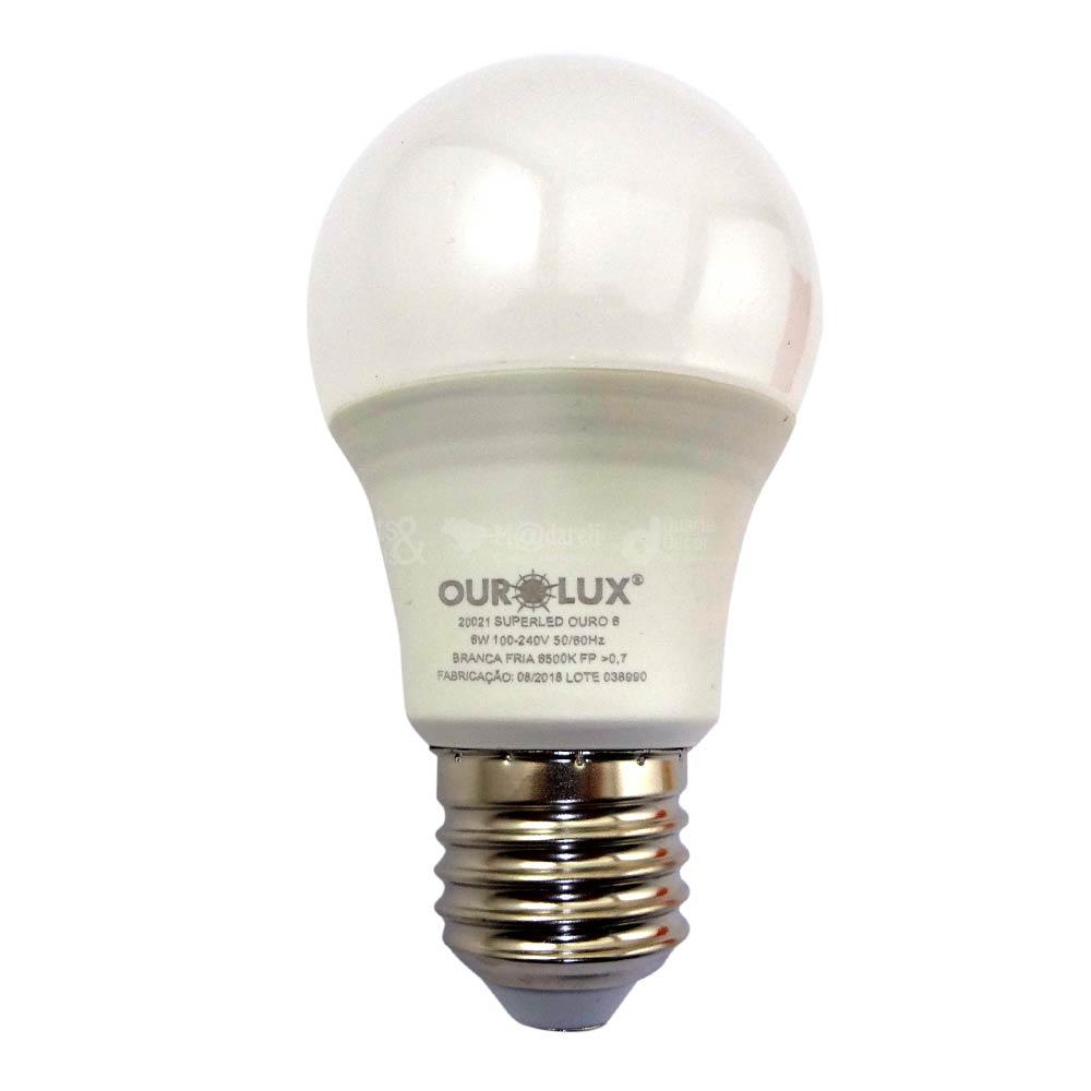 Lâmpada Led Bulbo 6W Luz Branca Fria Ourolux