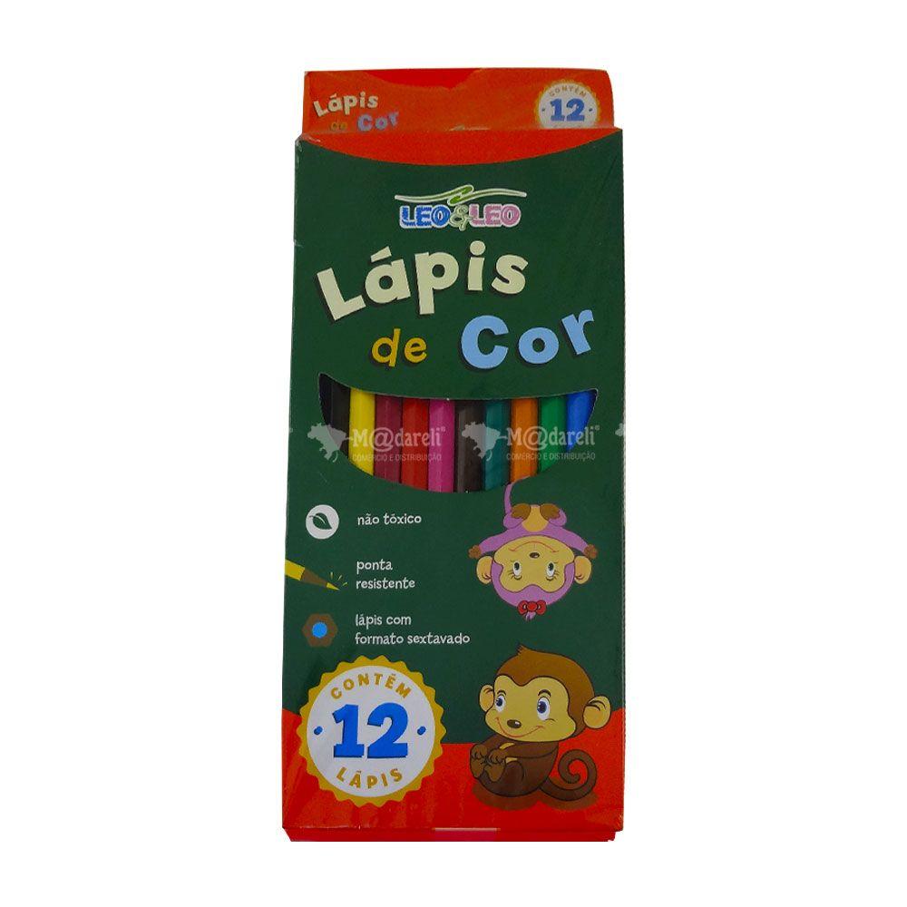 Caixa Lápis de Cor 12 Cores Sextavado Leo & Leo