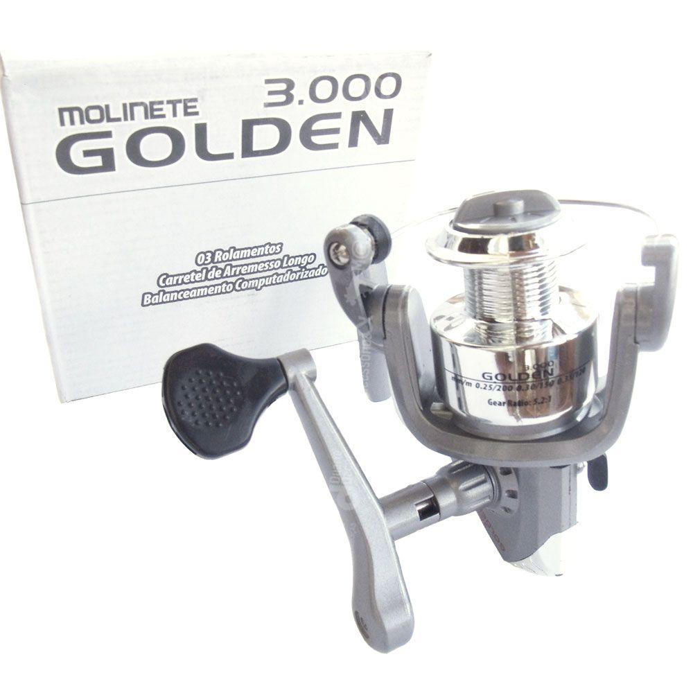 Molinete para Pesca Golden 3000 - 3 Rolamentos