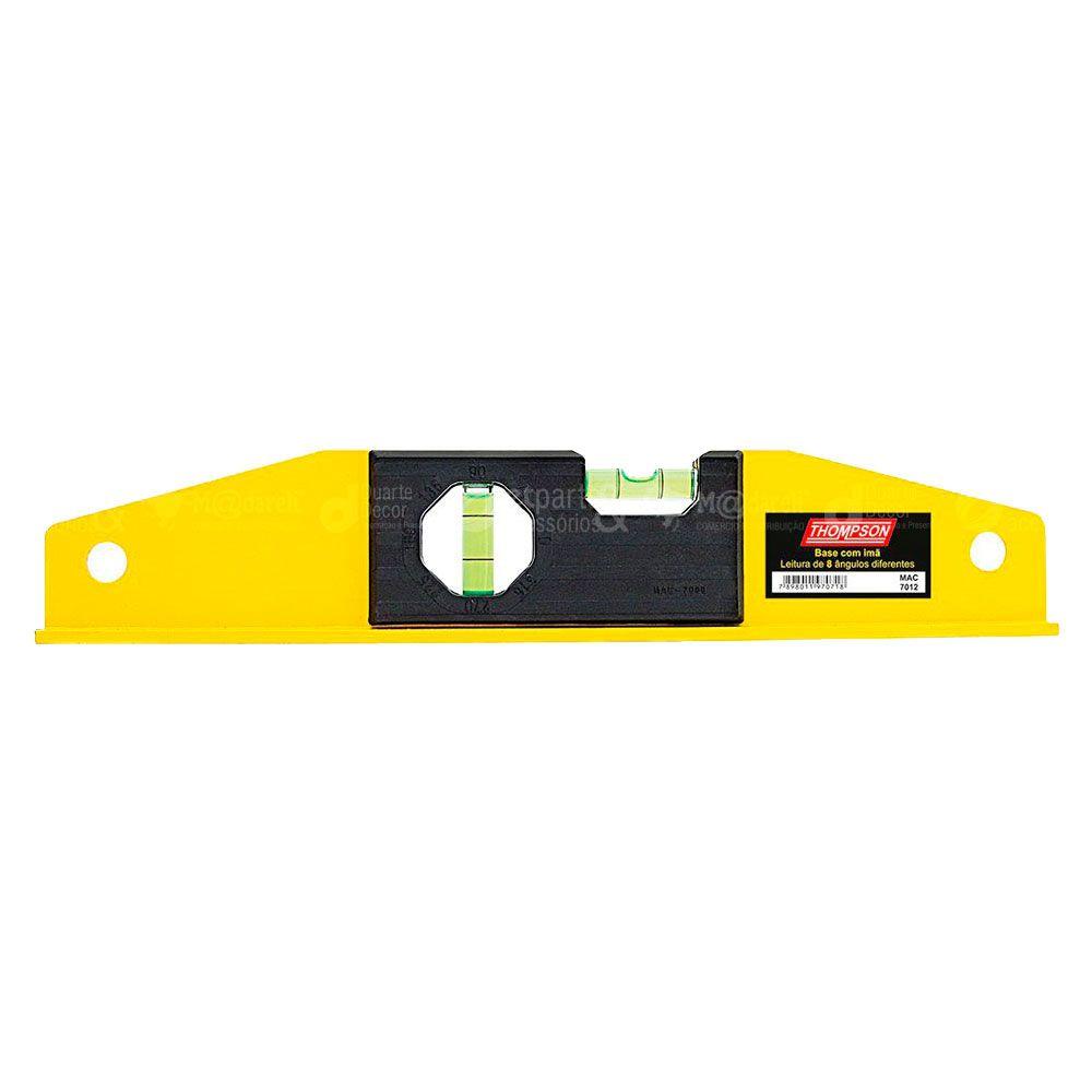 """Nível Alumínio Amarelo 12"""" / 30cm Base Magnética - Thompson"""