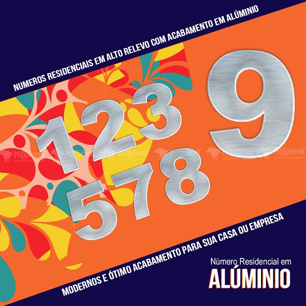 Número Residencial em Alumínio Espelhado - 7cm altura