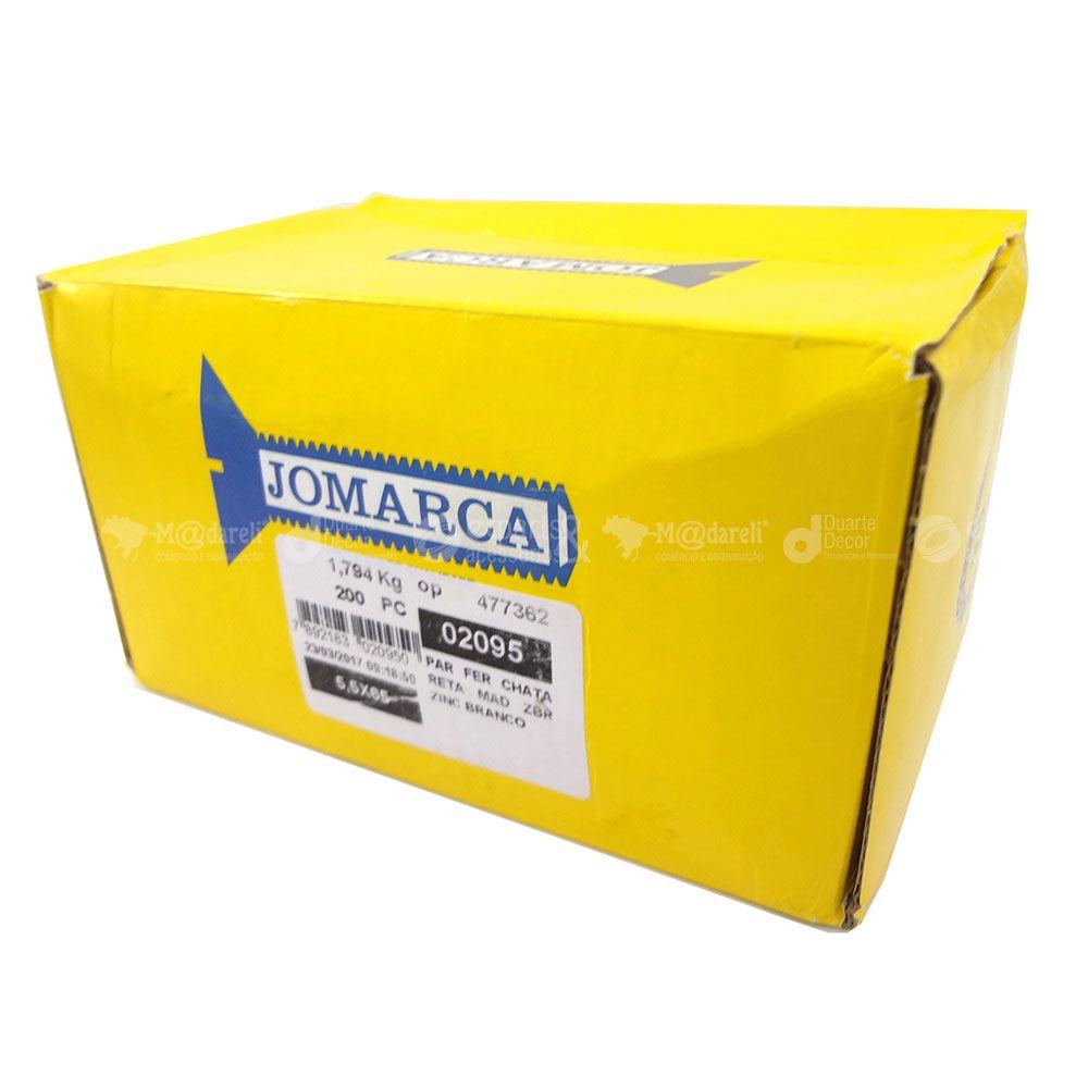 Parafuso Fenda Chata 5,5 x 65 mm Zincado 200un - Jomarca