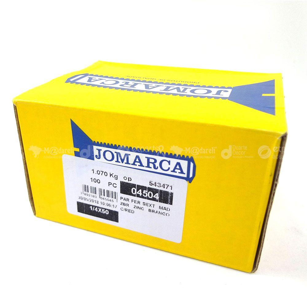 """Parafuso Sextavado Rosca Soberba 1/4""""x50mm Zincado 100un - Jomarca"""