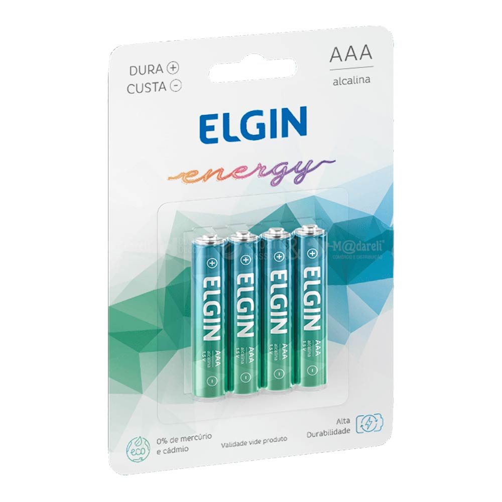 Pilha Palito Alcalina Energy AAA 4 Unidades - Elgin