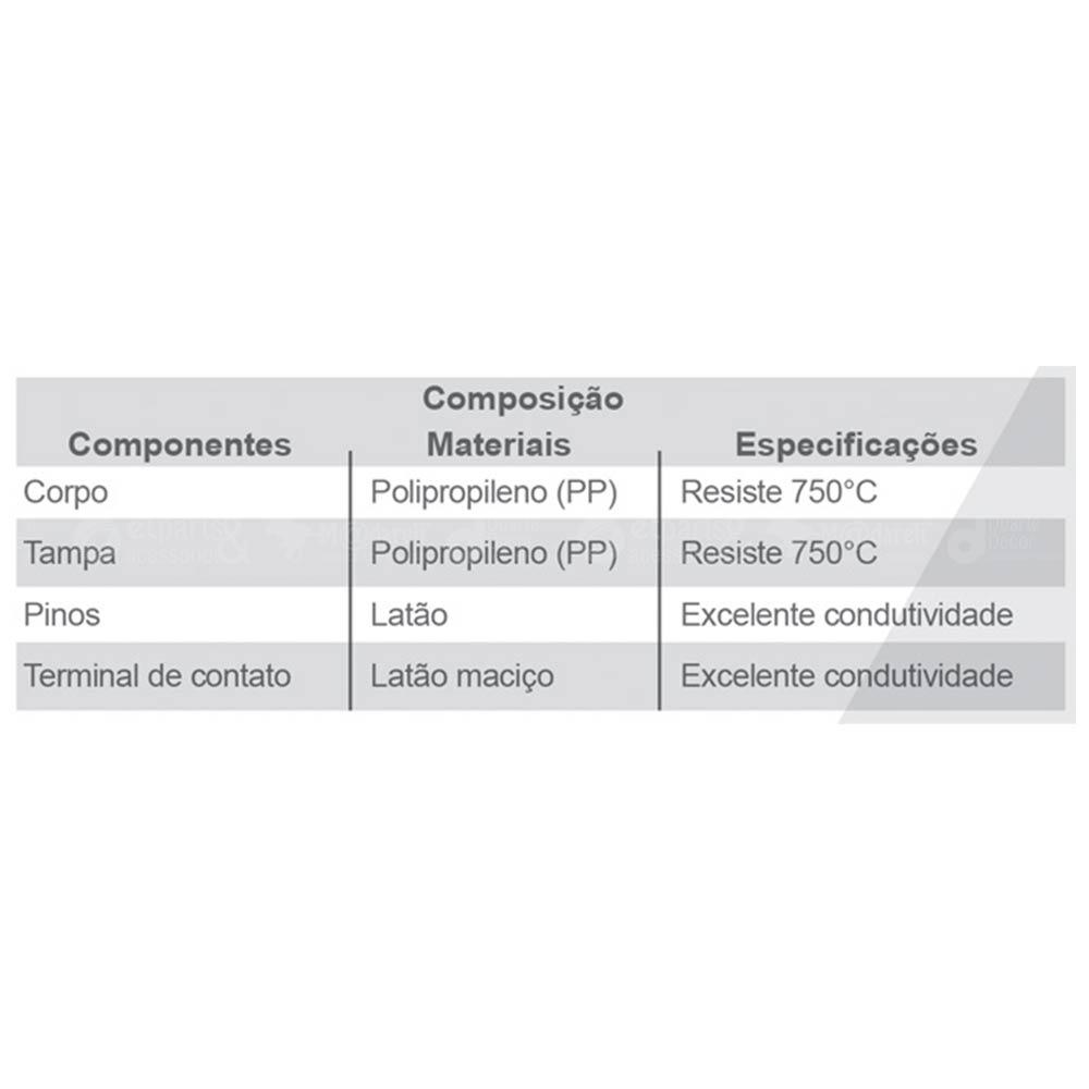 """Pino Bipolar Tipo """"T"""" 3 Saídas 2P + T 10A Branco - Ilumi"""
