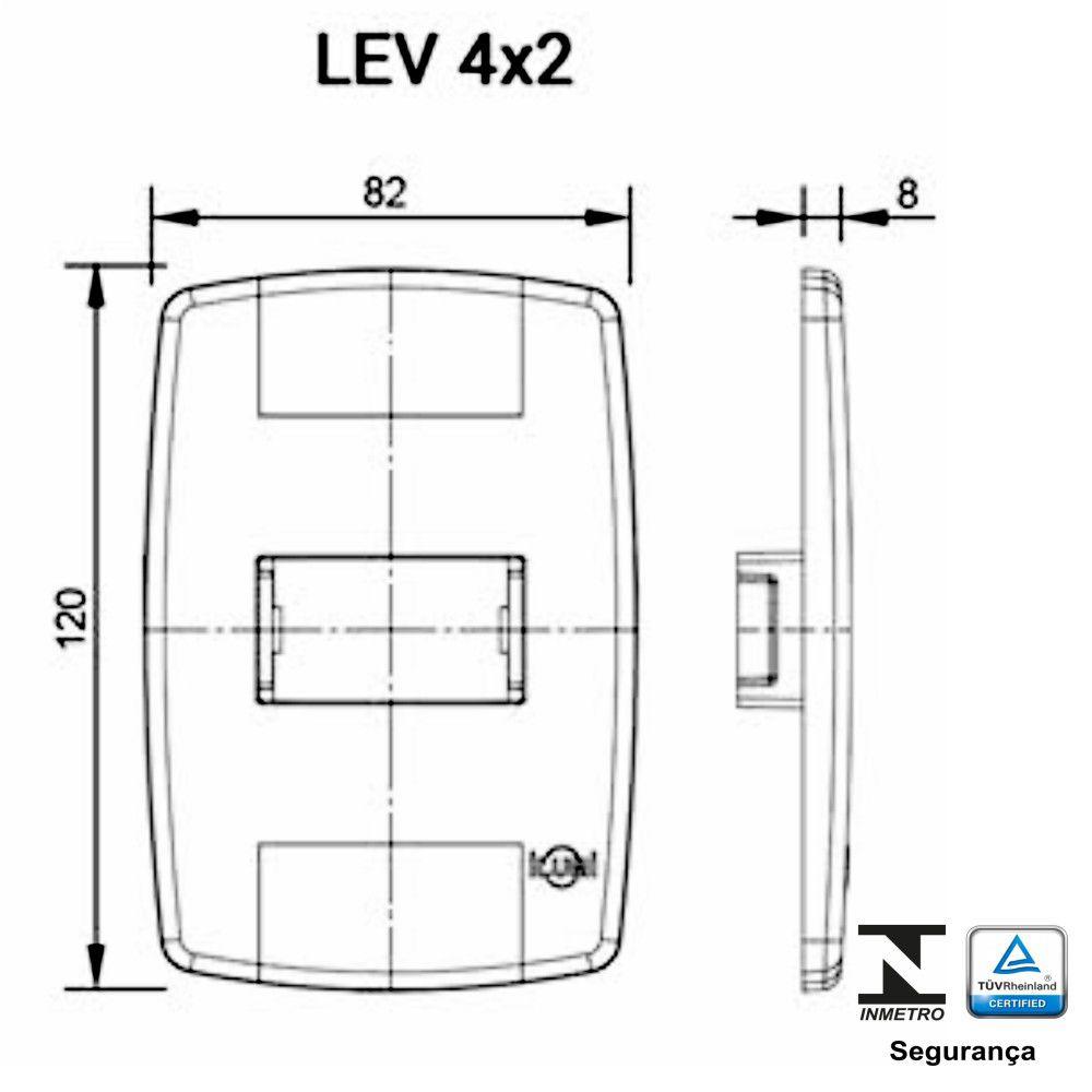 Placa 4x2 para 1 Modulo Largo Ilumi Lev Modular