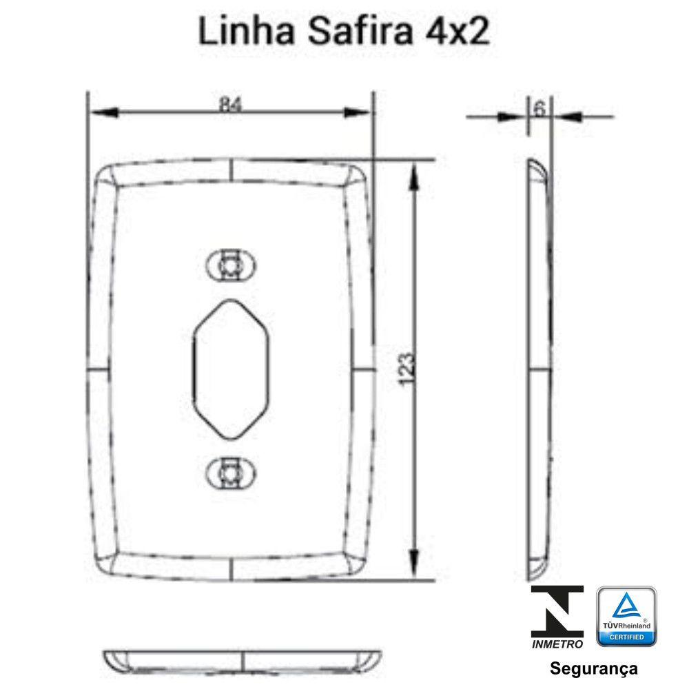 Placa 4x2 com Saída de Fio Safira - Ilumi