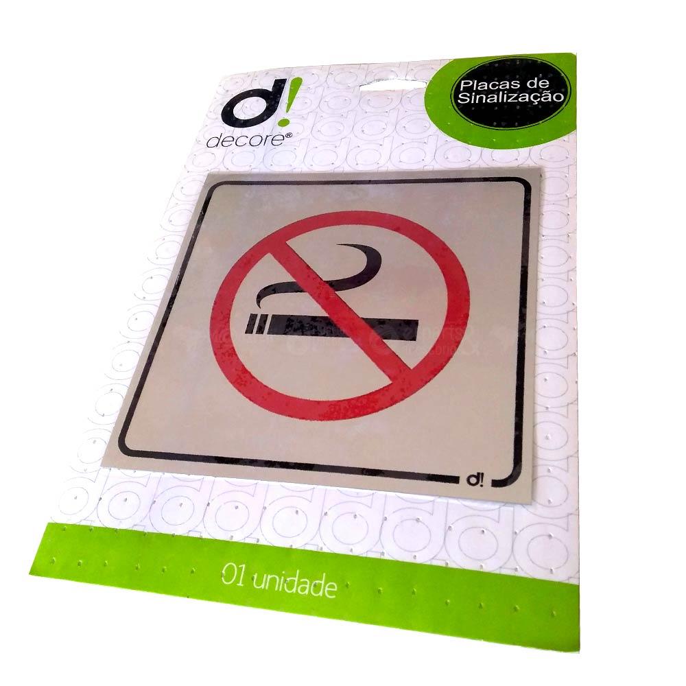 Placa de Proibido Fumar em Alumínio 15 x 15 cm - Decore