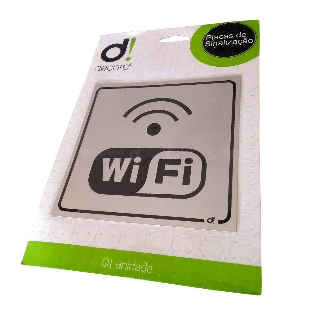 Placa de Sinalização em Alumínio WiFi 15 x 15 cm - Decore
