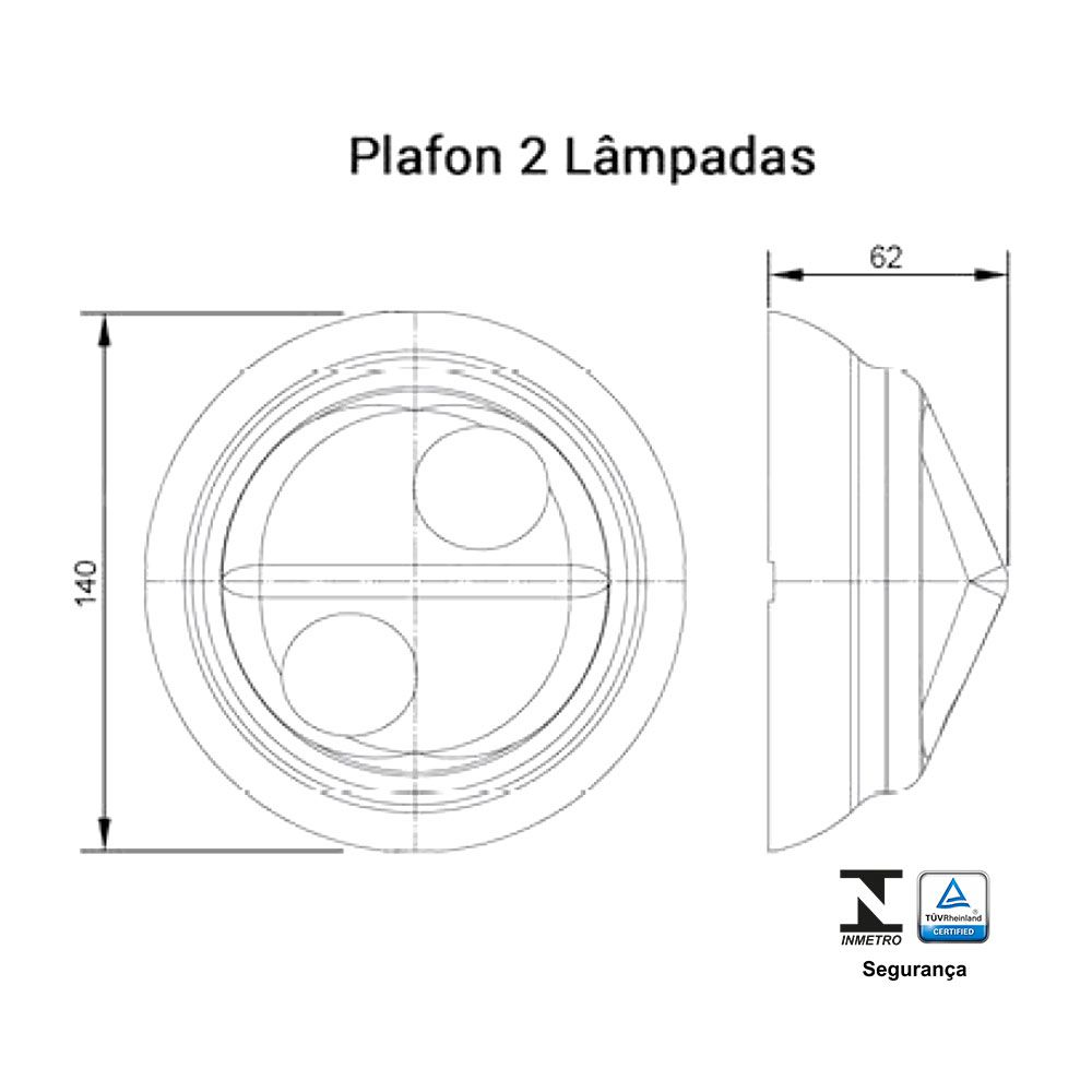 Plafonier 2 Lâmpadas 100W - Ilumi