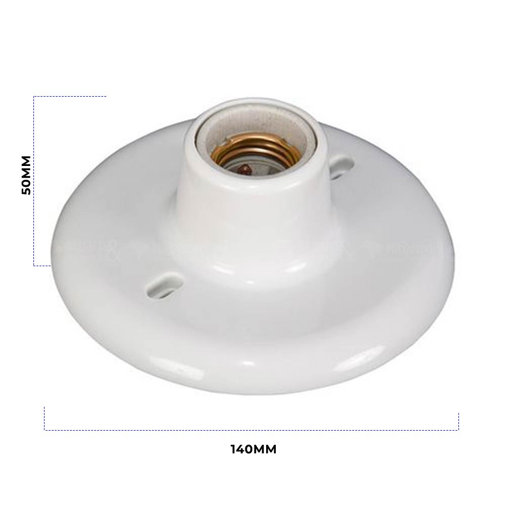 Plafonier Bocal Porcelana 100W Soquete E27 Branco - OPL