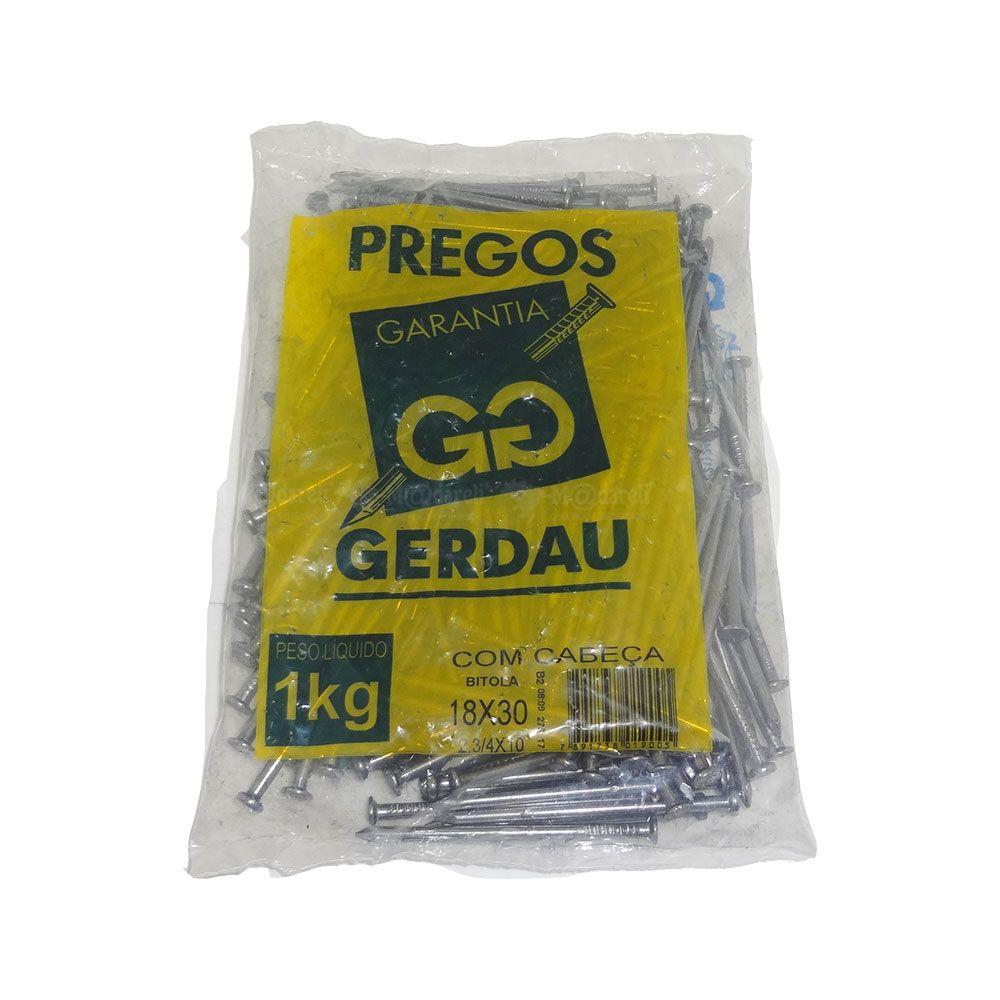 Prego 18x30 1kg Com Cabeça 2.3/4x10 - Gerdau