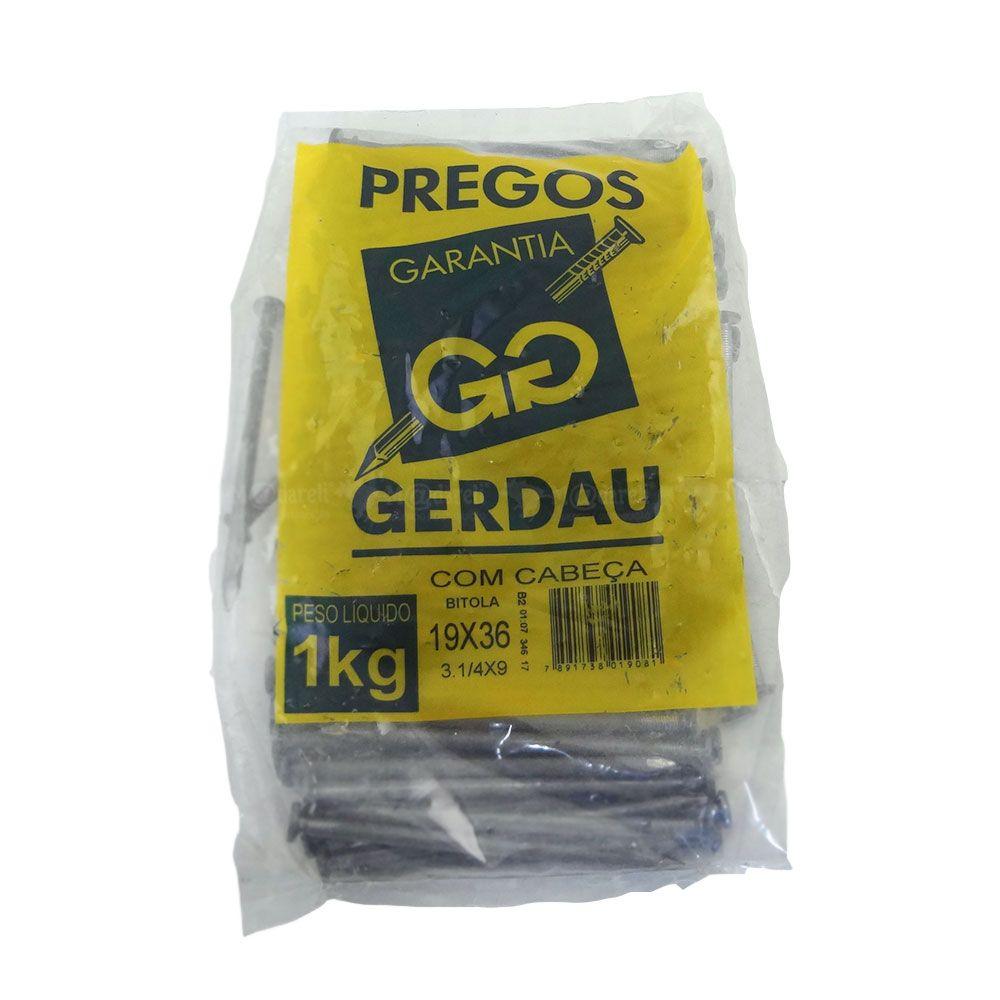 Prego 19x36 1kg Com Cabeça 3.1/4X9 - Gerdau