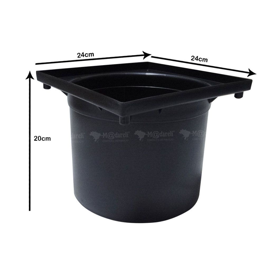 Prolongador para Caixa de Passagem e Inspeção de Esgoto e Caixa Pluvial Preto 24x20x24cm