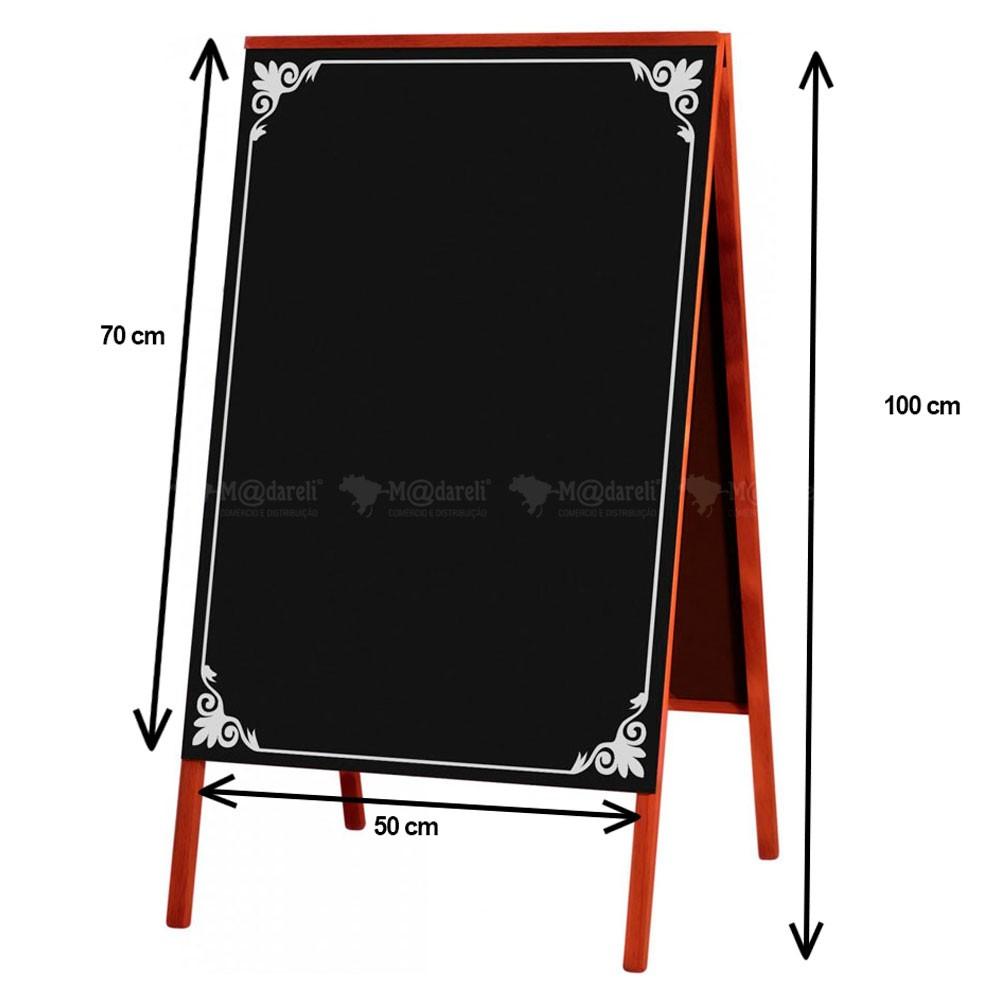 Cavalete Quadro Negro para Calçada 2 Faces 70 x 50 cm