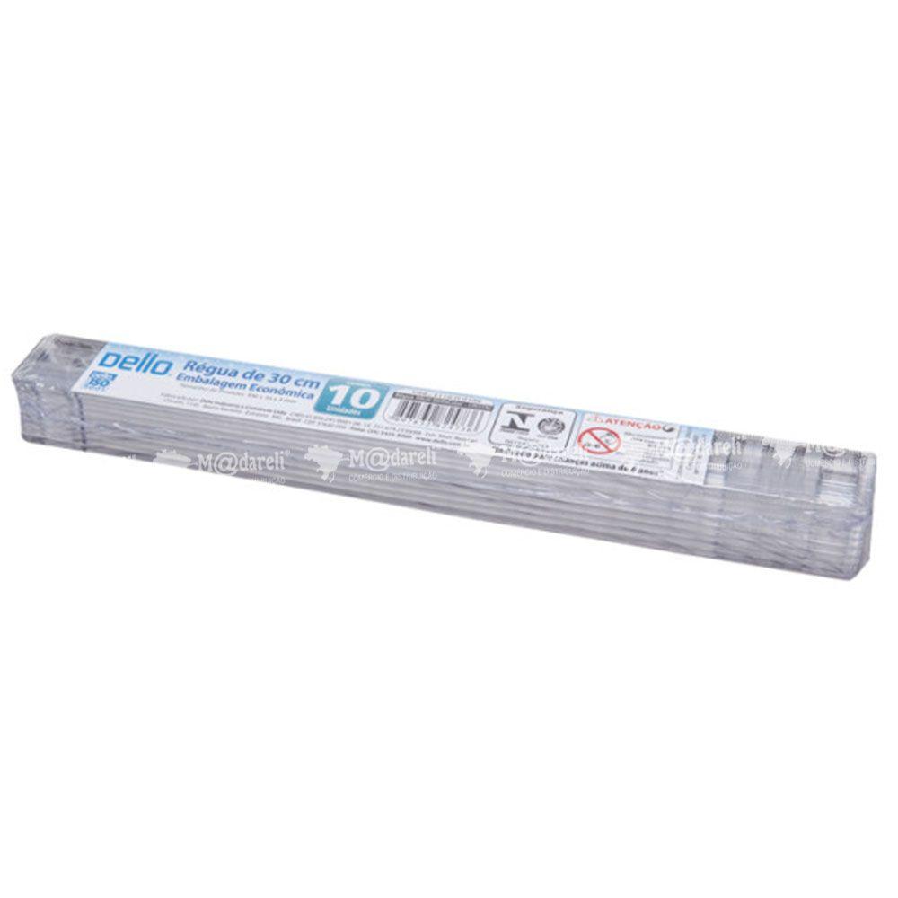 Régua de 30 cm Transparente Dello Embalagem com 10 Unidades