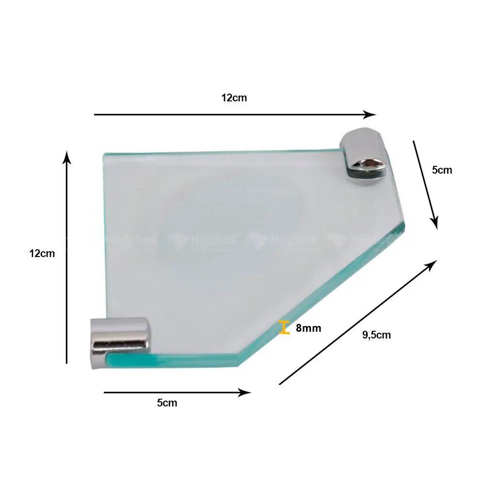 Saboneteira de Canto em Vidro 8mm - Vildrex
