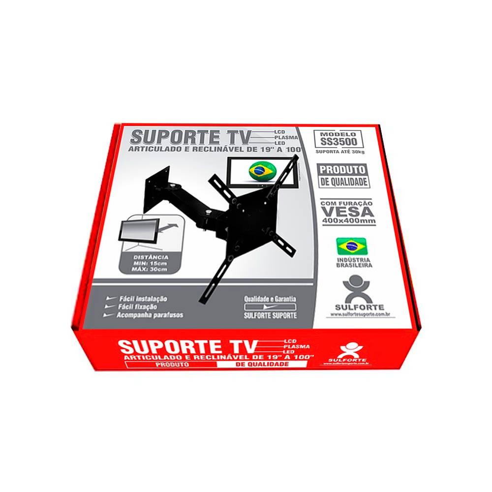 """Suporte TV Articulado e Reclinável 19""""a 100"""" SS3500 Sulforte"""