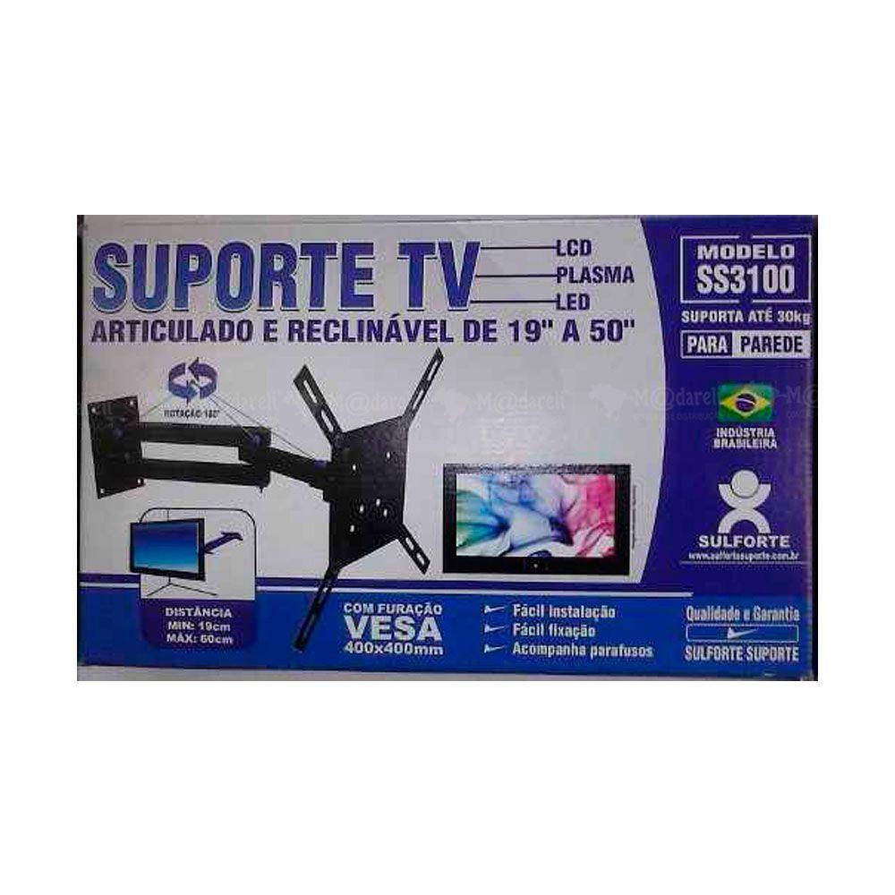 """Suporte TV Articulado e Reclinável 19"""" a 50"""" SS3100 Sulforte"""