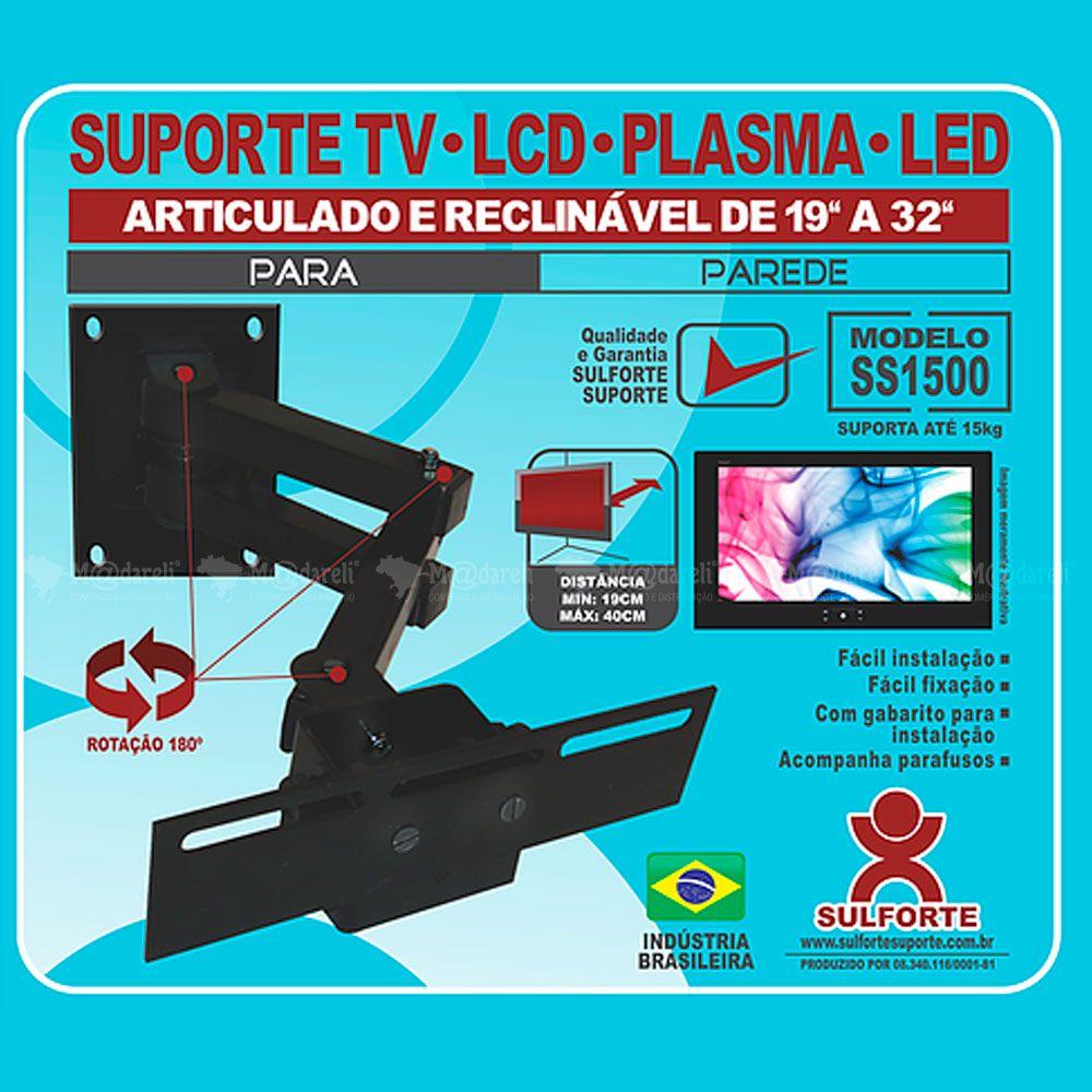 """Suporte TV Articulado e Reclinável de 19"""" a 32"""" SS1500"""