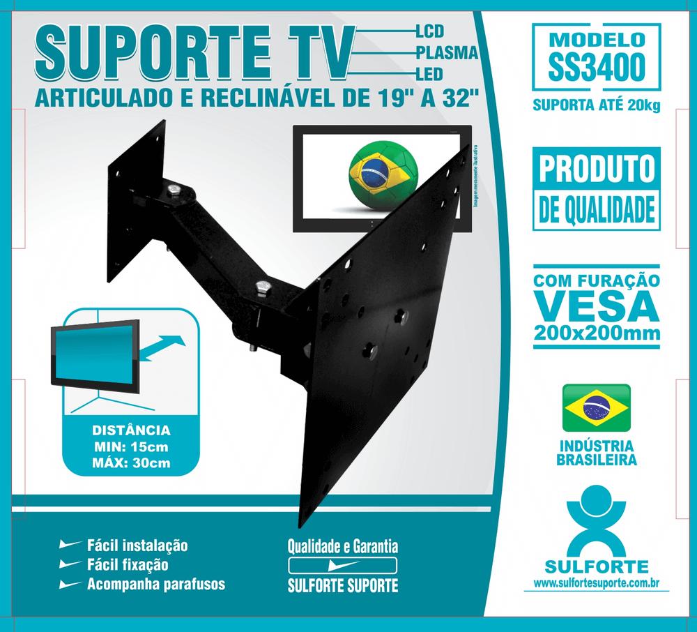Suporte Tv Articulado E Reclinável De 19''a 32'' SS3400 - Sulforte