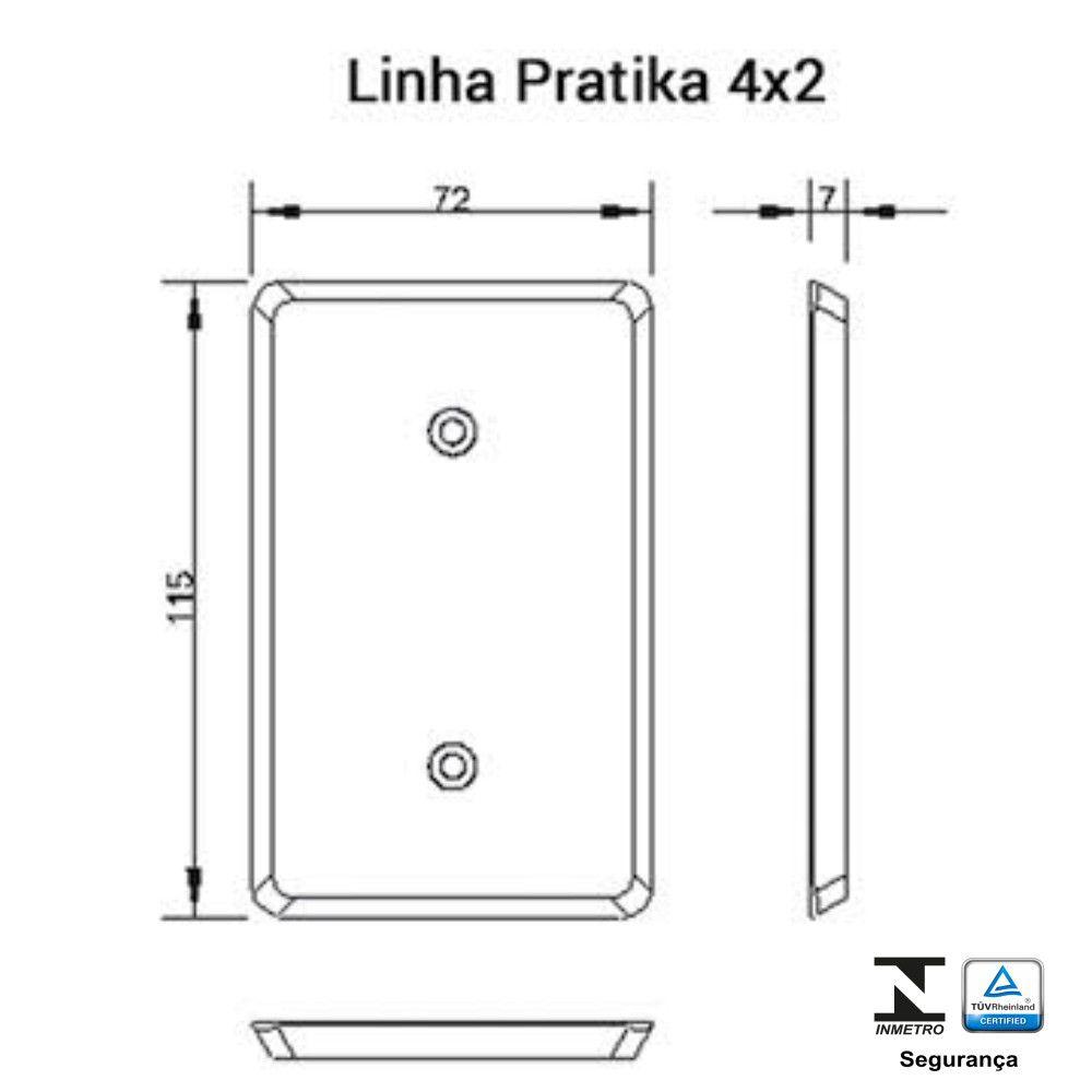 Tomada Fixa de Embutir 2P + T 20A Pratika - Ilumi