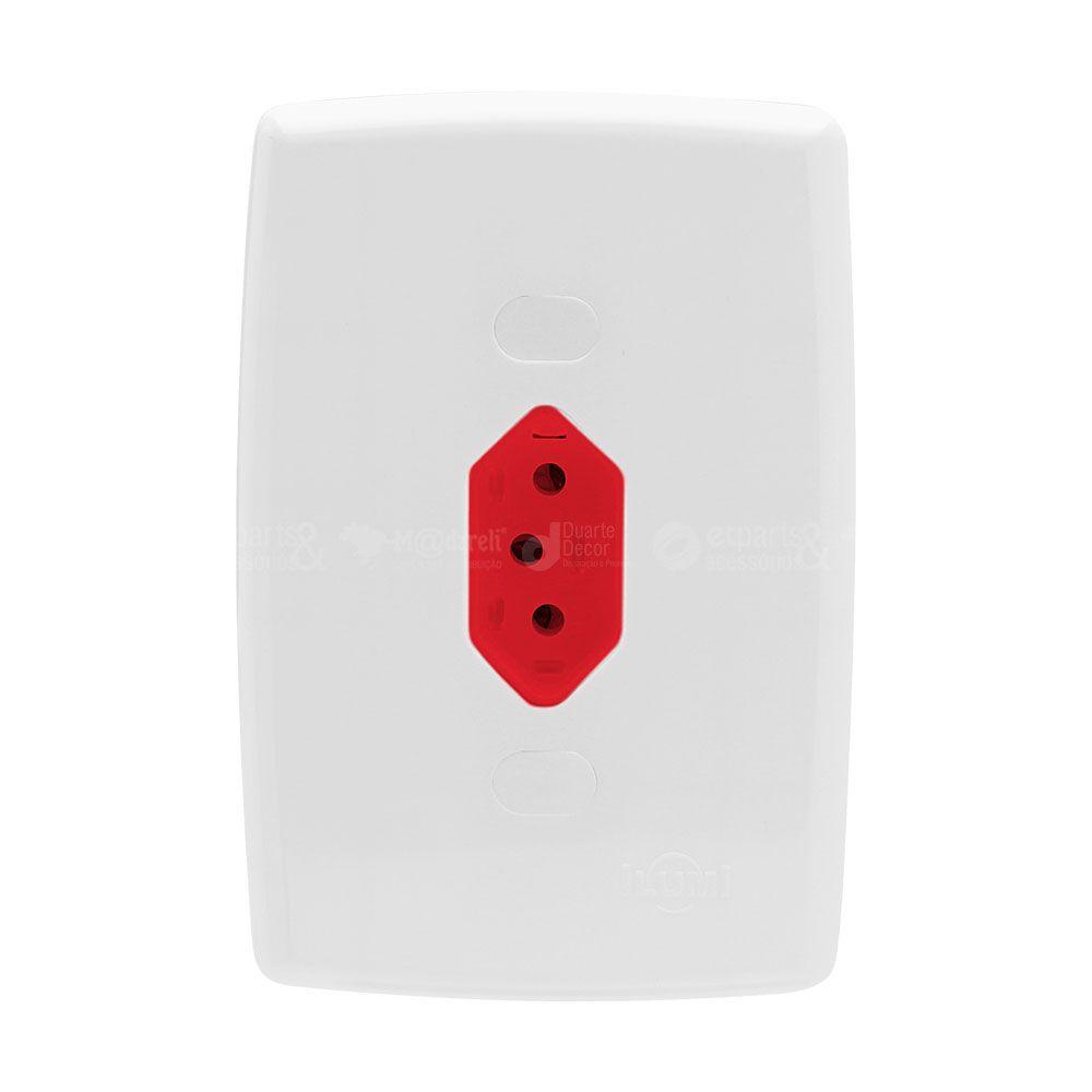 Tomada Fixa de Embutir 2P+T 10A Vermelha Safira - Ilumi
