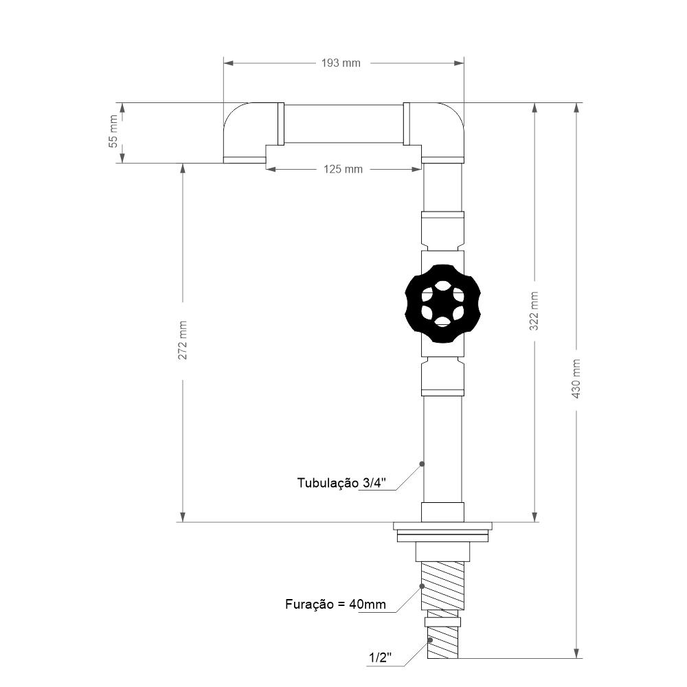 "Torneira Design Industrial Clássica Luxo PVC 3/4"" - Madareli"
