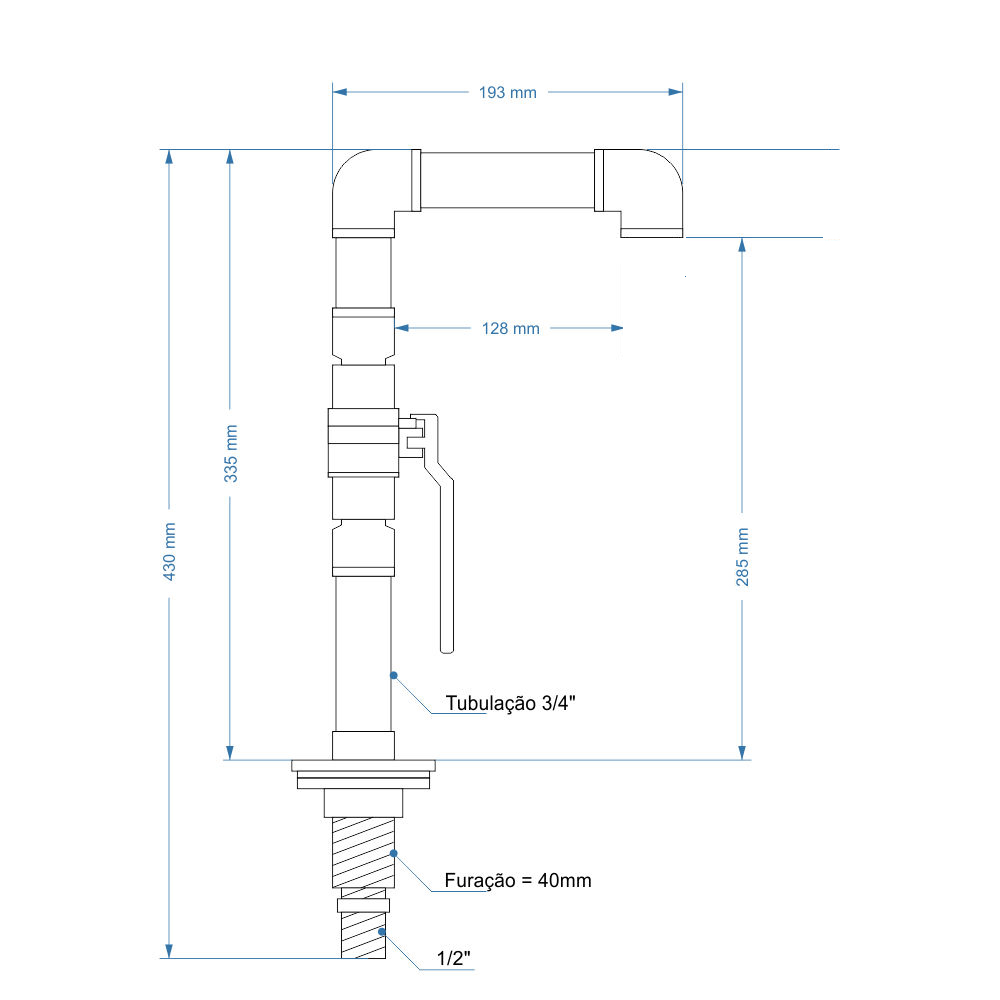 "Torneira Design Industrial Clássica PVC 3/4"" Registro de Esfera"