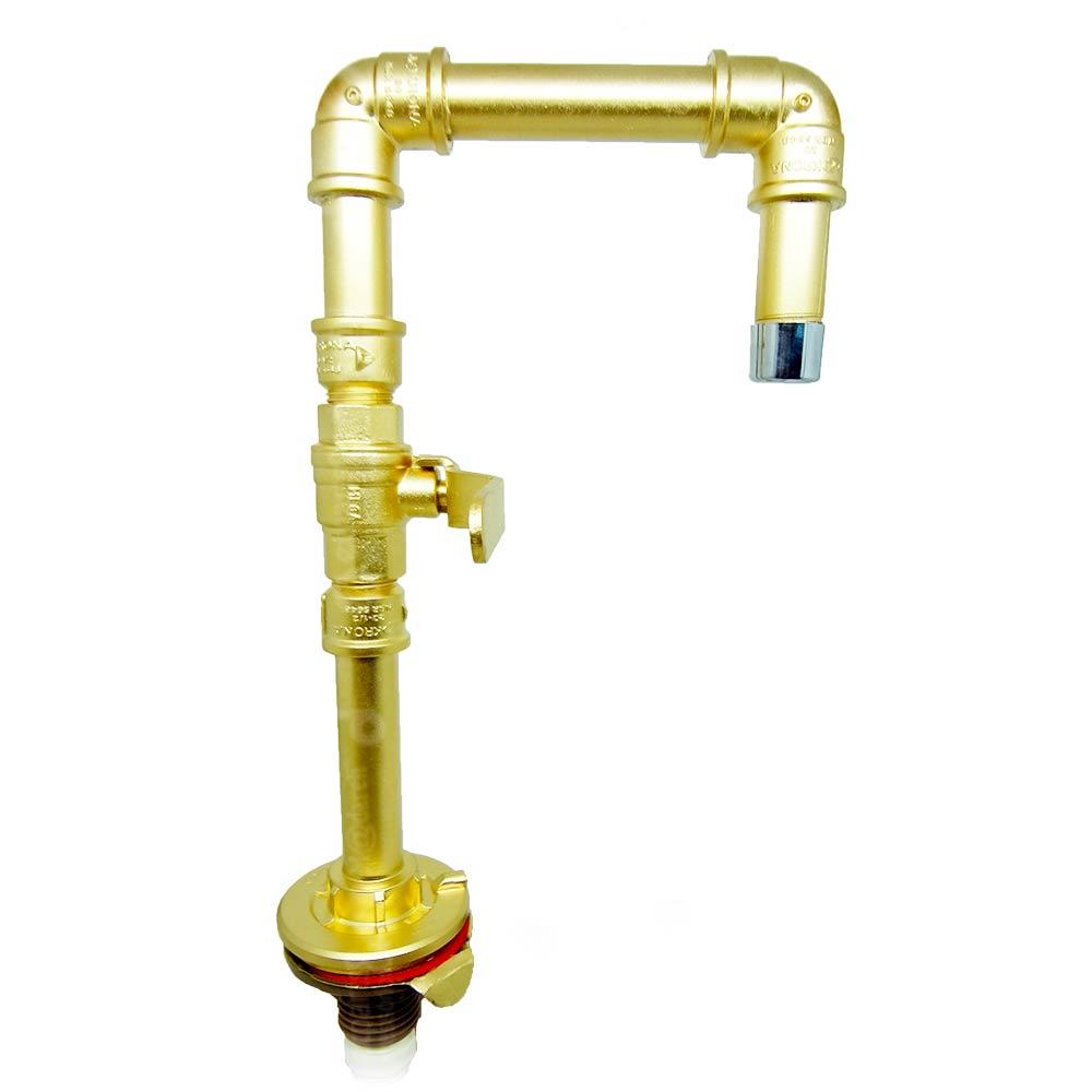 Torneira Design Industrial Dourada em PVC e Registro de Esfera